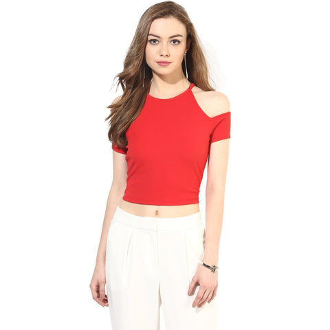 Red Exotic Knit Fabric Cold Shoulder Crop Top For Girls Ladyindia99