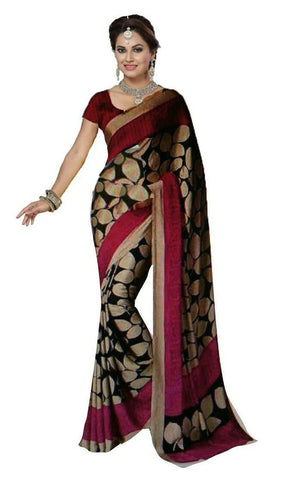 Black And Pink Bhagalpuri Silk Sarees Self Design Printed Silk Sarees