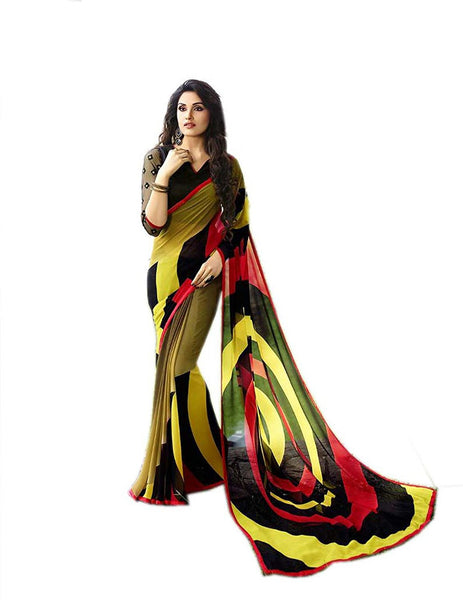Fancy Designer Store Self Design Multicolor Georgette Printed Saree With Un-Stiched Blouse