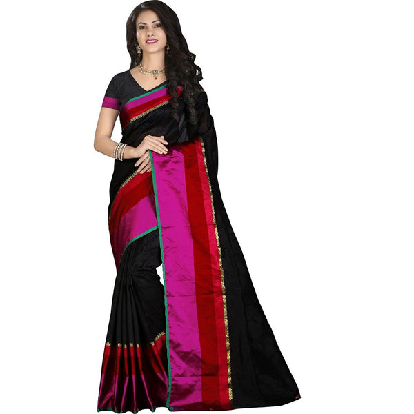 Designer Casual Wear Black Silk Cotton Sari Pure Cotton Silk Sarees With Broad Border