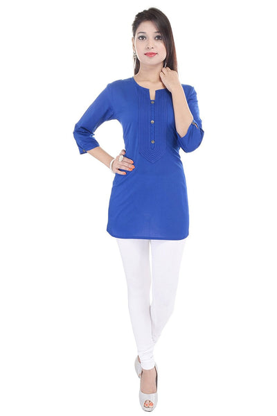 Plain Cotton Kurtis Kurtas Royal Blue Color Short Kurtis For Ladies K42