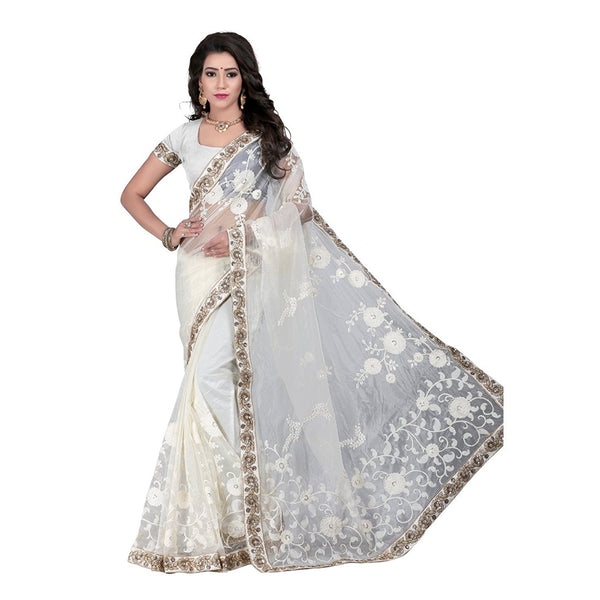 White Embroidered Net Saree With Georgette And Chiffon WorK Saree With Blouse Piece