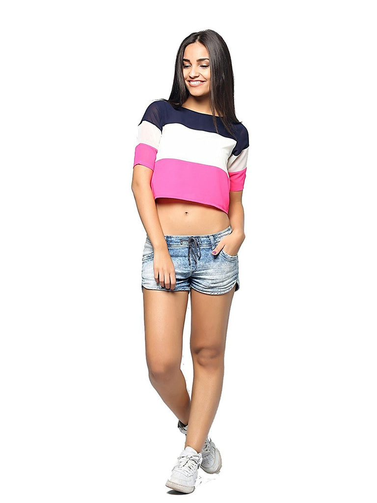 a375bf5ecf6f5b Crop Tops For Women Multi Color Crepe Western Crop Top – Lady India
