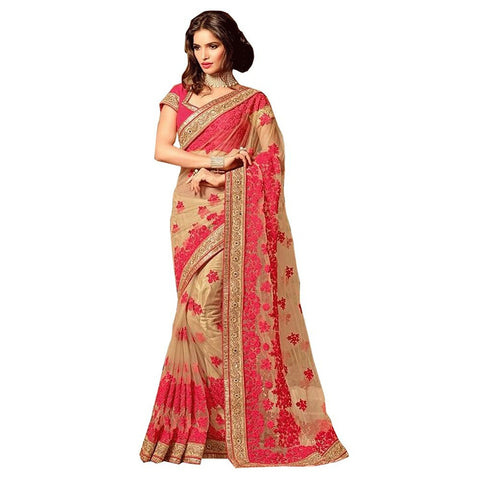 Beige Color Net Saree With Red Color Embroidered Thread Work Designer Net Sarees