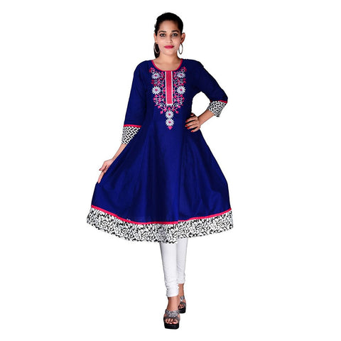 dark-blue-color-cotton-anarkali-kurtis-with-embroidery-work-a030
