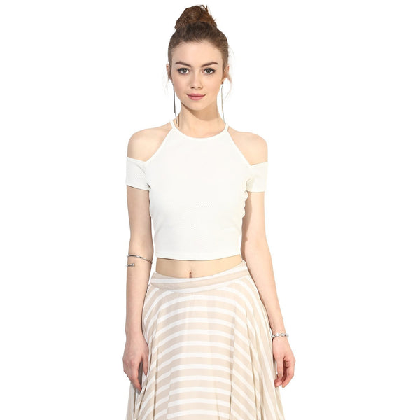 White Crop Top For Girls Cold Shoulder Tops Ladyindia57