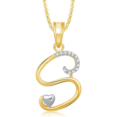 Gold Plated 'S' Letter Pendant Locket Alphabet Heart Pedendent For Men And Women