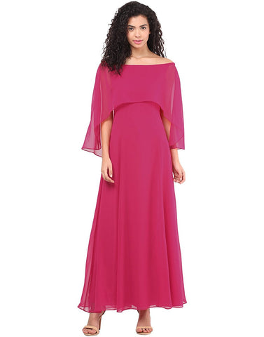 Latest Designer Hot Pink Cape Gown