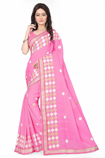 Pink Color Chiffon Sarees With Embroidery Work S033