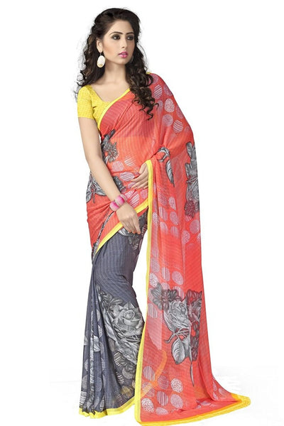 Orange & Grey Color Chiffon Saree With Rose Print Work S090