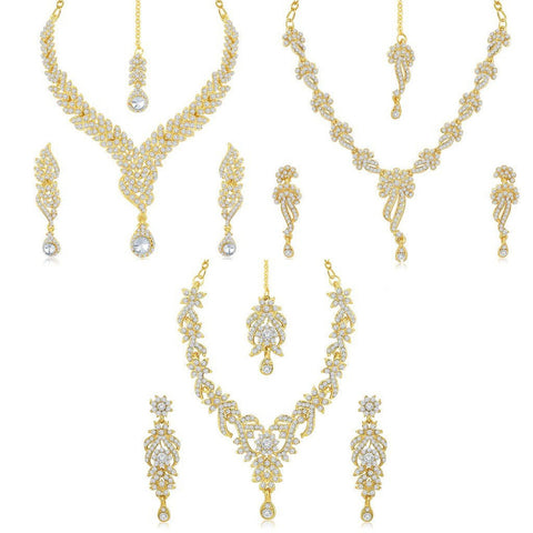 Brass Gold 3 Pieces New Fashion Designer Necklace Set Strand Necklace With Earrings Set