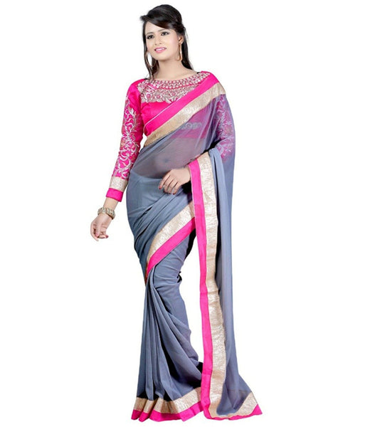 Designer Dazzling Original Grey Saree With Unstiched Embroidered Blouse