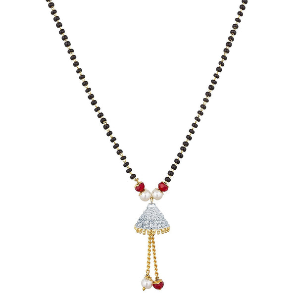Latest Jewellery Collection The Luxor Regular Wear Australian Diamond Studded Mangalsutra For Women