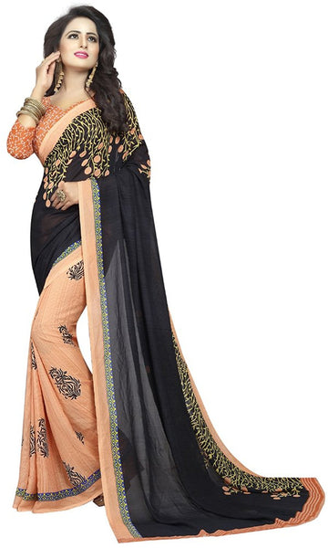 FS-30 Festive Season Sale Black & Orange Color Georgette Sarees Floral Embroidery Festival Sarees