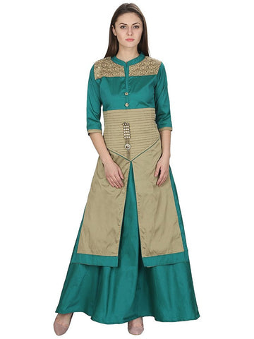 Turquoise Color Tuffeta Long Kurtas With Skirts Front And Side Slit Open Kurtis For Women