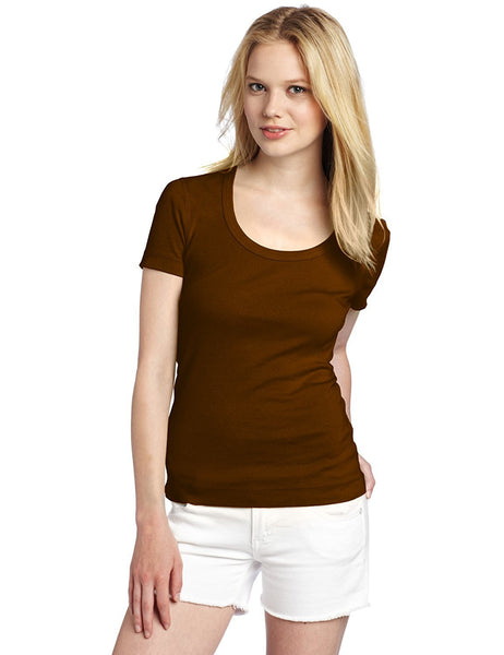 Brown Color Plain Casual T-Shirts For Girls Ladyindia30