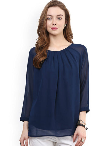 Blue Solid Color Georgette Top For Women Round Neck With 3/4 Sleeve Women Tops