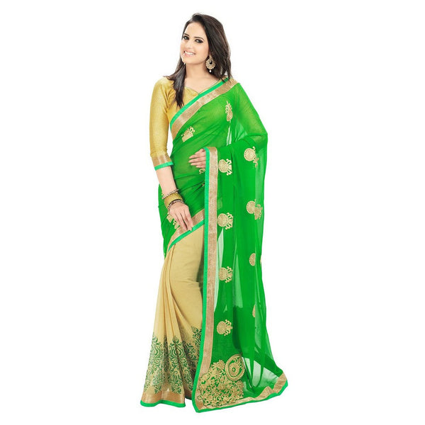 Designer Green Colour Chiffon Saree