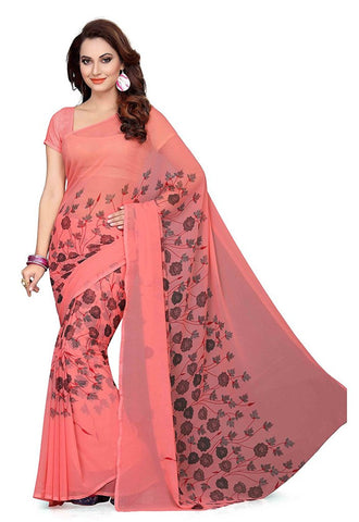 Beautiful Peach Color Georgette Sarees Floral & Leaf Print Work  S062