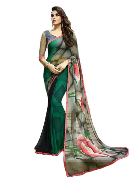Designer Gray Georgette Printed Saree With Un-Stiched Blouse Beautiful Stunning Indian Wedding Saree