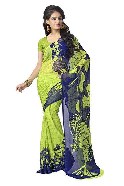 Tradional Green & Blue Color Floral Print Chiffon Sarees S095