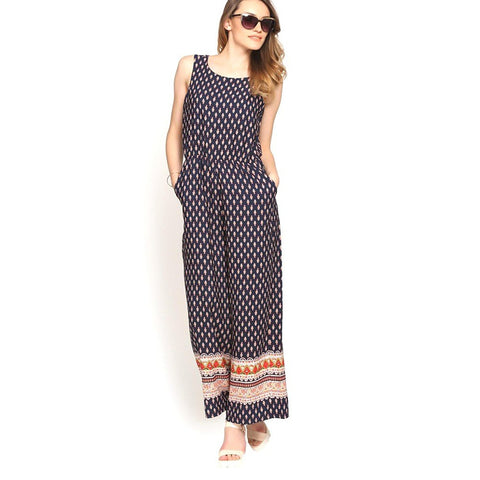 Palazzo Jumpsuit Blue Color Printed Jumpsuits For Women
