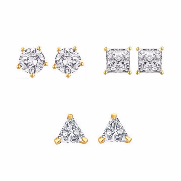 White Gold Plated Stud Earrings For Women Pack Of 3 Pairs