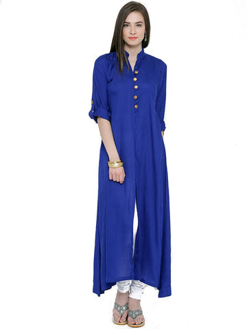 blue-color-plain-rayon-kurtis-front-open-&-golden-toggle-design-casual-kurtis-a069