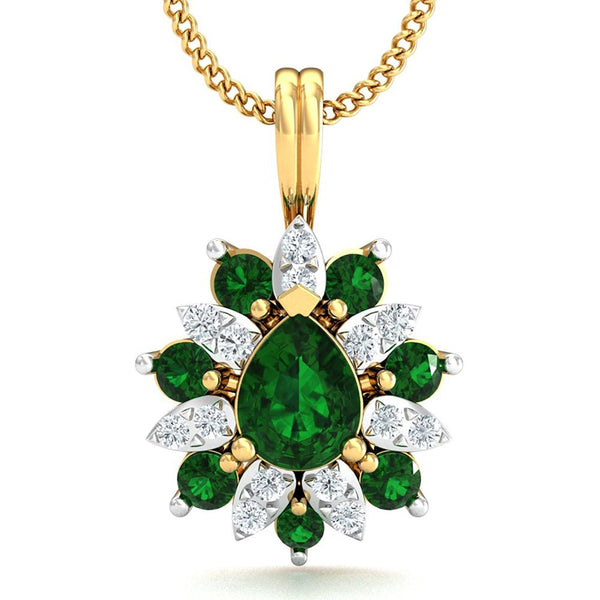 Green Petals Flower Designer Pendent 18k Gold And Diamond Pendant For Women