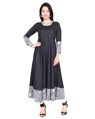 black-plain-casual-anarkali-kurta-with-white-printed-work-a063