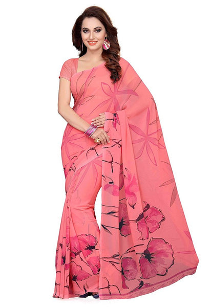Beautiful Peach Color Georgette Sarees With Floral Print Work S061