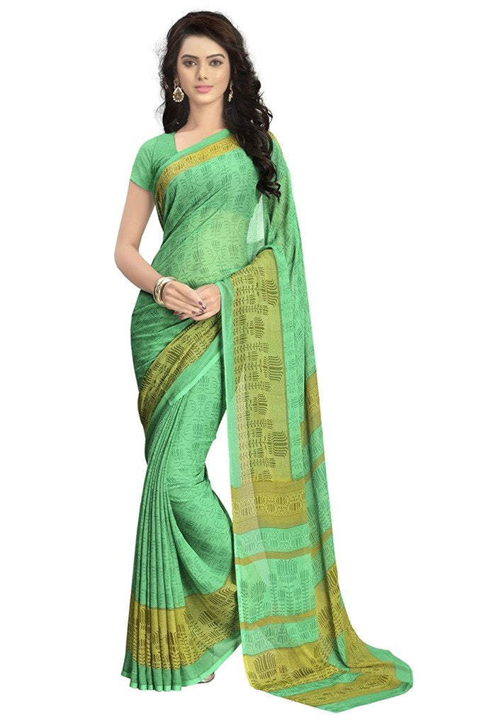 0461b56359 Green Color Printed Sarees Casual wear Designer Georgette Sarees – Lady  India