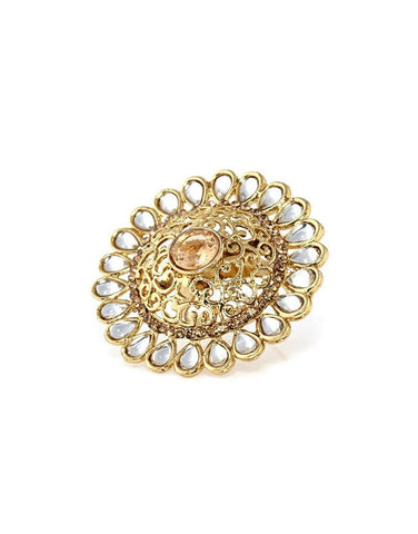 Designer Gold Plated Kundan Finger Ring For Women