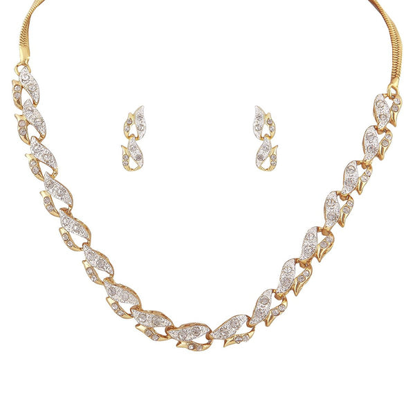 Sempre Of London Gold Crystal Diamonds With Gold & Rhodium Plated Cynthia Chain Necklace With Drop Earring Set For Women