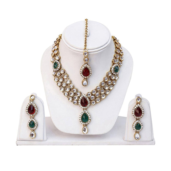 Designer Traditional Kundan Necklace Set / Jewellery Set With Maang Tikka And Earrings For Girls And Women