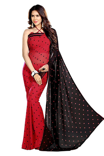 Traditional Georgette Sarees Red & Black Color Dots Print & Lace Work Saree S058