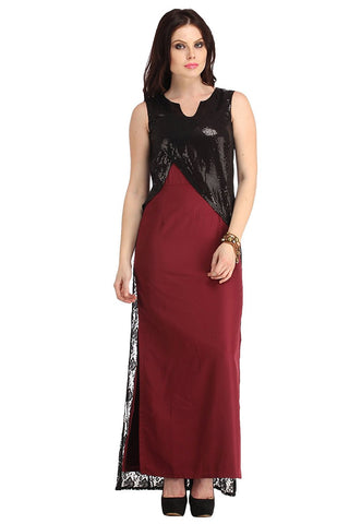 Latest Maroon Black Sheer Lace Cape Maxi Dress With Sequene Yoke