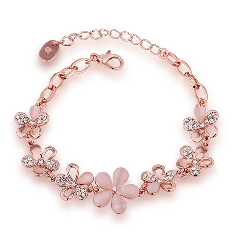 Flower Design Bracelet Gold Crystal Charm Bracelet For Girls