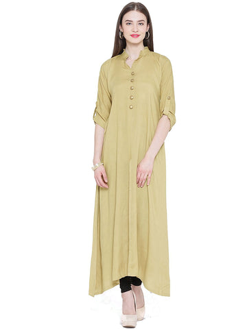 beige-color-casual-long-kurta-plain-rayon-kurtis-a068