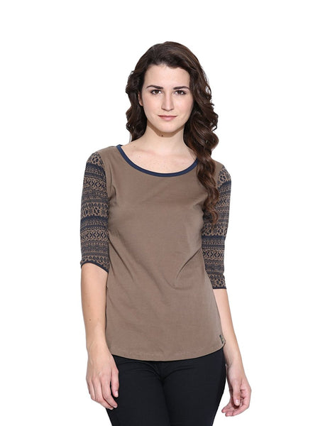 Brown Color T- Shirts For Girls s Online Casual Cotton Printed T-Shirts For Girls Ladyindia23