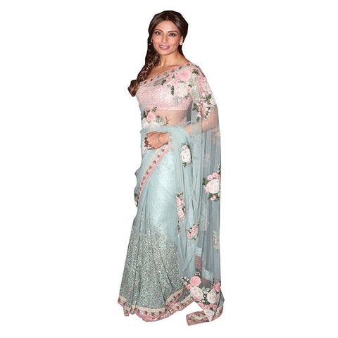 Bipasha Basu Multicolor Net Saree With Floral Embroidery Designer Net Sarees