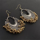 Designer Fashion Oxidized Ethnic Silver / Golden Beaded Chandbali Earrings Women