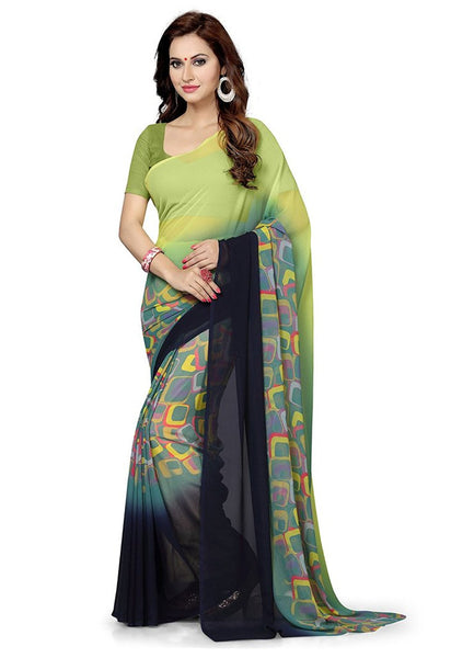 Multicolor Latest Designer Georgette Sarees With Printed Work S068