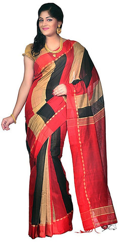 three-colors-handloom-silk-cotton-sarees-with-broad-stripes-design-and-plain-pallu