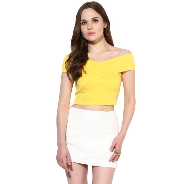 Shop Latest Yellow Bandage Bardot Off-Shoulder Crop Top For Girls Ladyindia96