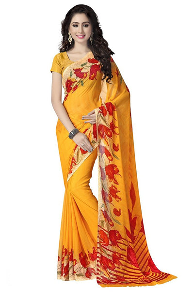 Yellow Color Printed Chiffon Sarees With Floral Print Work S054