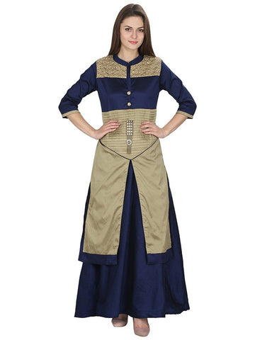 Designer Navy Blue Color Tuffeta Long Kurtas With Skirts Front And Side Slit Open Kurtis For Women