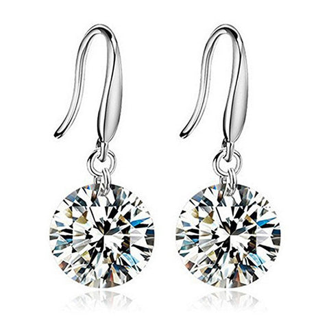 Designer Crystal Dangler Silver Toned Earrings