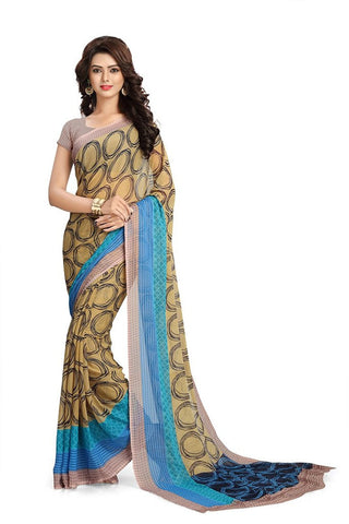 Beautiful Georgette Sarees With Circle Print Work  S079