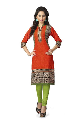 Orange Colour Cotton Kurta Casual Wear Cotton Long Printed Kurti